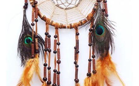 Indiánský lapač snů s barevnými pírky