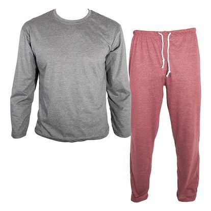 Pánské dlouhé pyžamo Molvy šedo cihlové