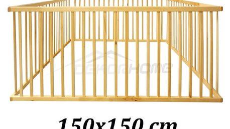 DĚTSKÁ DŘEVĚNÁ OHRÁDKA 150 x 150 cm XXL AKČNÍ CENA