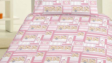 Jerry Fabrics Dětské povlečení Medvídek růžová, 140 x 200 cm, 70 x 90 cm