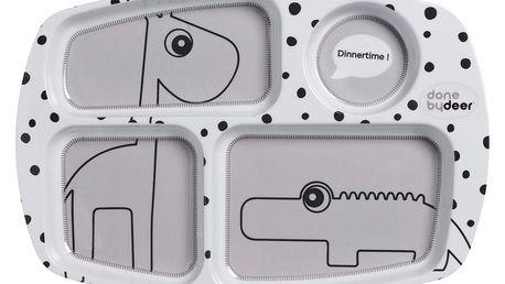 Šedý dělený talíř pro děti Done by Deer Happy Dots