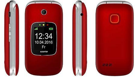 Mobilní telefon Aligator V650 Senior stříbrný/červený (AV650RS)