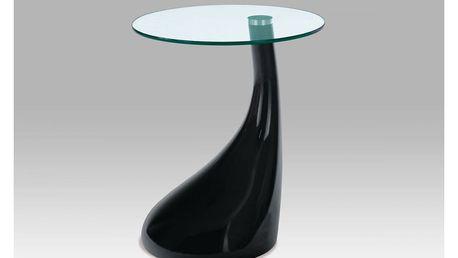 Odkládací stolek, sklo / černý plast ACT-706 BK Autronic