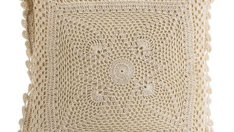 JAHU Polštářek z pleteniny Gita béžová, 40 x 40 cm
