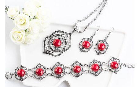 Třídílný set šperků s červenými/ černými kamínky