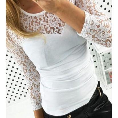 Dámské triko s krajkovým dekoltem a rukávy