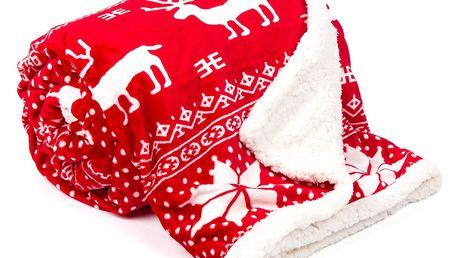 JAHU Beránková deka Sob červená, 150 x 200 cm