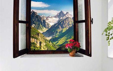 3D samolepka - okno s výhledem na hory