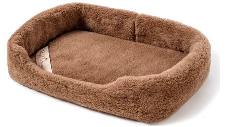 Hnědý pelíšek pro psa z merino vlny Royal Dream, délka60cm
