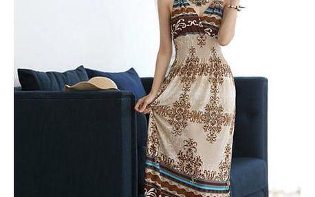 Dlouhé bohémské šaty s originálním potiskem