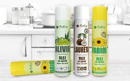 Kokosový, olivový a rostlinný olej ve spreji