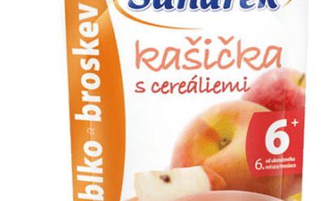 6x SUNÁREK Kašička s cereáliemi jablko a broskev (120 g)