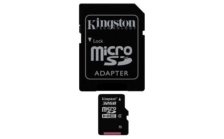 Paměťová karta Kingston MicroSDHC 32GB Class4 + adapter (SDC4/32GB)