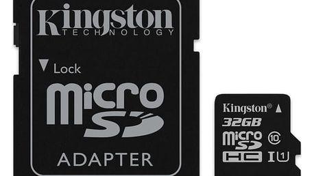 Paměťová karta Kingston Canvas Select MicroSDHC 32GB UHS-I U1 (80R/10W) + adapter (SDCS/32GB)