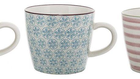 Bloomingville Keramický hrnek Patrizia Růžové proužky, růžová barva, modrá barva, zelená barva, keramika