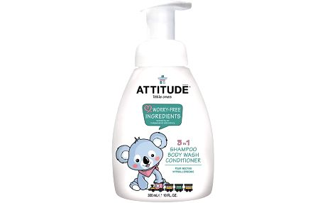 ATTITUDE Dětské tělové mýdlo, šampon a kondicionér (3v1) s vůní hruškové šťávy - s pumpičkou 300 ml