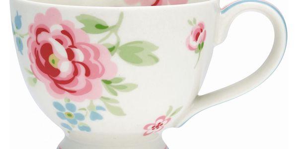 GREEN GATE Hrneček Meryl white, růžová barva, bílá barva, multi barva, porcelán