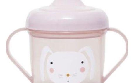 PETIT MONKEY Trénovací hrneček Rabbit pink, růžová barva, plast