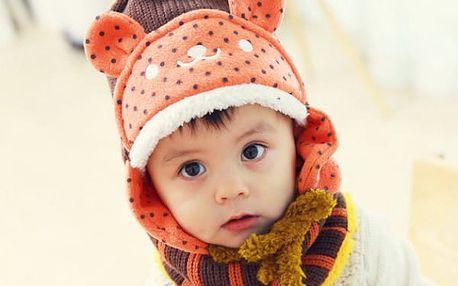 Dětská medvídková čepice se šálou ve dvou barvách!