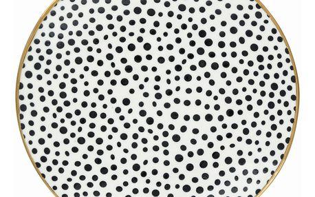 GREEN GATE Porcelánový talíř Dot black, černá barva, bílá barva, zlatá barva, porcelán