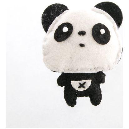 Fashion Icon Brož panda tkanina HAND MADE ruční práce