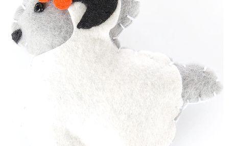 Fashion Icon Brož ovci bílá tkanina HAND MADE ruční práce