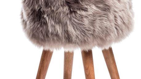 Stolička s hnědým sedákem z ovčí kožešiny Royal Dream