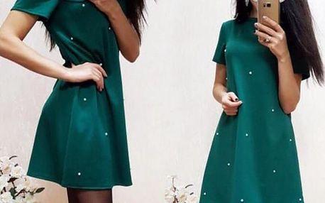 Módní šaty s jemnými puntíky - 3 barvy