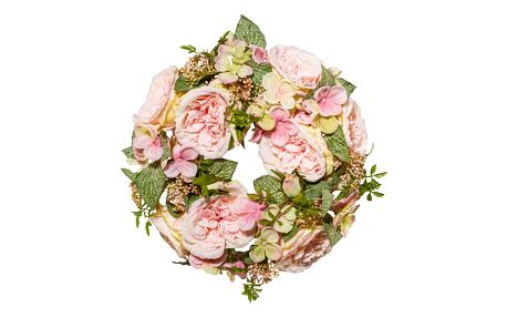 Romantický umělý věnec Růže, pr. 32 cm