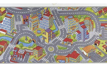 Dětský koberec se šedými detaily Hanse Home City, 90x200cm