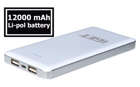 Power Bank iGET POWER B 12000mAh bílá (B-12000)