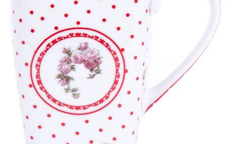 Hrnek hranatý se lžičkou Country puntík 600 ml, červená