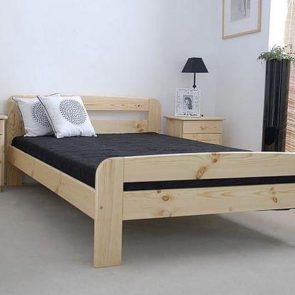Dřevěná postel Klaudia 140x200 + rošt ZDARMA borovice
