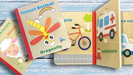 Dětská dřevěná puzzle knížka