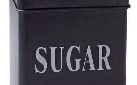 Černá plechová dóza KJ Collection Sugar, 1,5 l