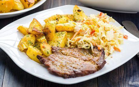 Steak z krkovice či kuřecího s přílohou + nápoj