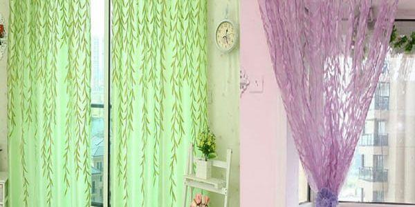 Záclona s vrbovými lístky 200x100 cm!