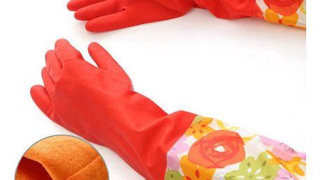 Zateplené gumové rukavice Flowers