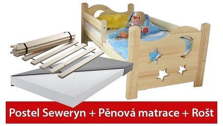 Postel SEWERYN 70 x 160 cm + pěnová matrace +rošt