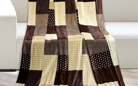 Bellatex Deka Kemping Kostka hnědá, 150 x 200 cm