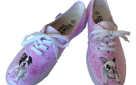 Originální ručně malované boty s vlastním motivem včetně pošty