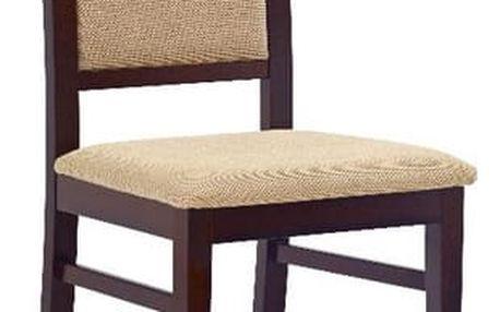 Dřevěná židle Sylwek 1 tmavý ořech - béžová (tkanina)