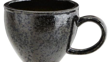 MADAM STOLTZ Keramický hrnek Grey Metalic 450 ml, zelená barva, šedá barva, černá barva, keramika