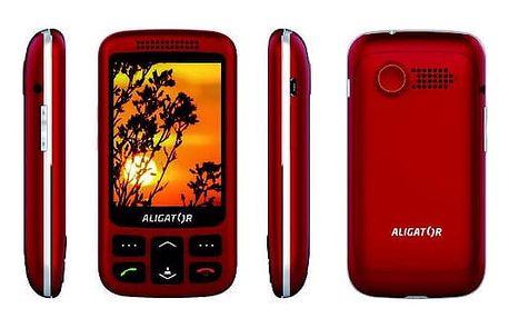 Mobilní telefon Aligator VS 900 Senior Dual SIM stříbrný/červený (AVS900RS)