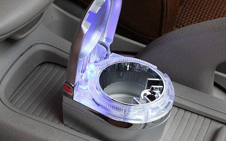 Malý přenosný popelník s LED světlem do auta