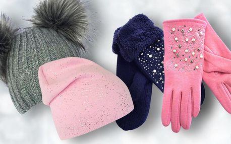 Rukavice a hravé čepice pro dámy i děti