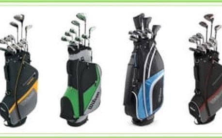 Kompletní pánské golfové sety Wilson Velocity/Ultra/Reflex/1200 XV - všechny obsahují driver, fervejové dřevo, hybrid, sadu želez, putter a bag, vše za 6.650 Kč.