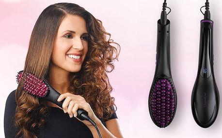 Žehlící kartáč na vlasy s nastavitelnou teplotou