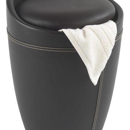 Hnědý koš na prádlo a taburetka v jednom Wenko Candy Look, 20l