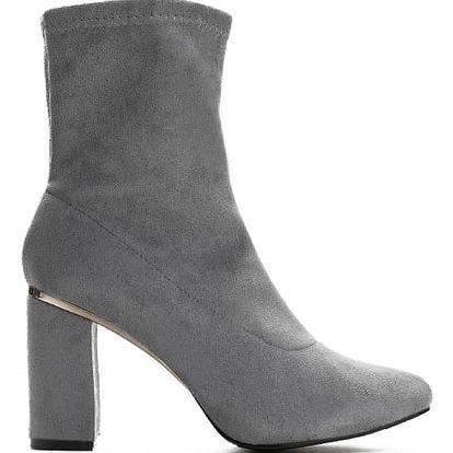 Dámské šedé kotníkové boty Swan 9107